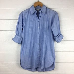 CAbi #804 Blue Pintucked Tunic Shirt